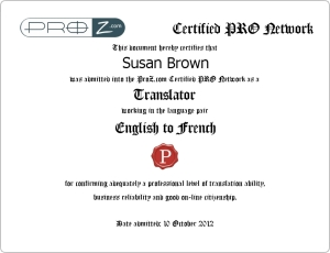 Susan Brown - Certified Pro